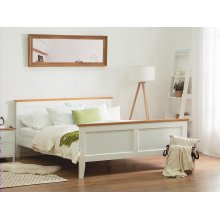 King Size White Wooden Bed 160 x 200 cm OLIVET