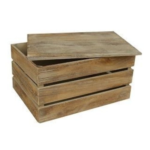 Small Oak Effect Slatted Lidded Wooden Storage Box
