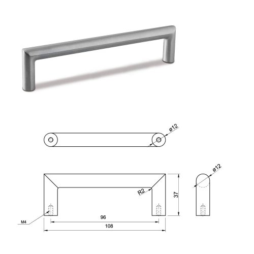 SMALL DOOR PULL HANDLE Stainless Steel C Bar Straight Bolt Fixing 96mm Pack of 20