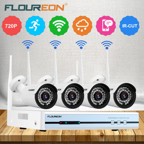 Floureon 4CH Wireless CCTV 1080P DVR Kit 720P IP Camera NVR System