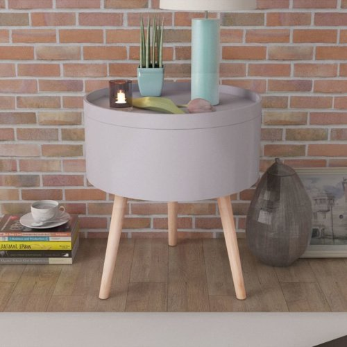 vidaXL Side Table & Serving Tray | Round Grey Side Table With Storage