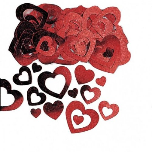 Red Heart Confetti Die Cut Metallic 14g Valentines Day Wedding Engagement Romantic