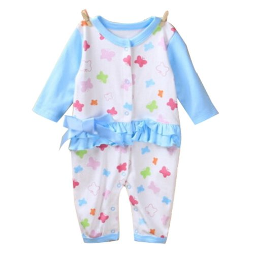 Baby Suit Baby Clothing Long-Sleeved Cotton Baby Crawl Sports Clothing Blue