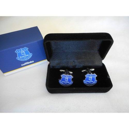 Everton Cufflinks - Crest Design - Chrome Cuff links in Box