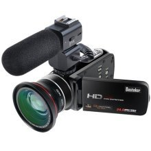 Besteker Wifi Camcorder Full HD 1080P 30FPS Portable Digital Video Camera with External Microphone and Wide Angle Lens