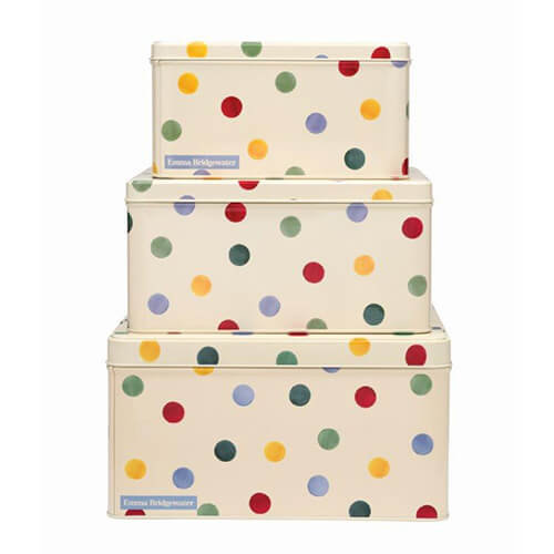 Emma Bridgewater Polka Dot Original Set Of 3 Square Cake Tins