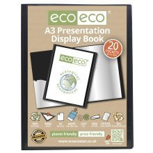 1 x A3 Recycled 20 Pocket (40 Views) Presentation Display Book - Black
