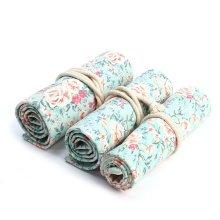 Handmade Floral Canvas Pencil Case 36 Holes Roll School Pencil Bag Large Capacity