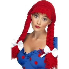 Red Smiffy's Rag Doll Wig With Fringe & Bows -  wig rag doll red fancy dress smiffys costume bows accessory ladies