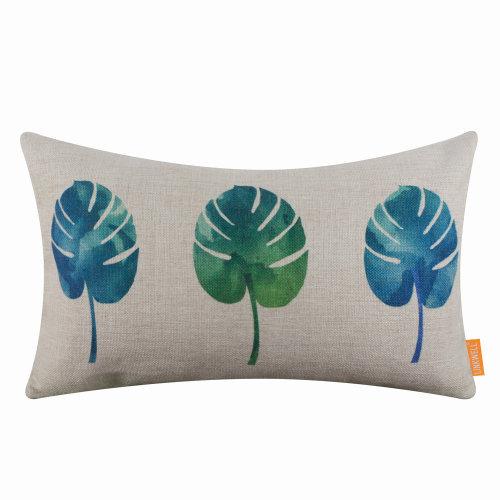 "20""x12"" Watercolor Palm Leaf Burlap Pillow Cover Cushion Cover"