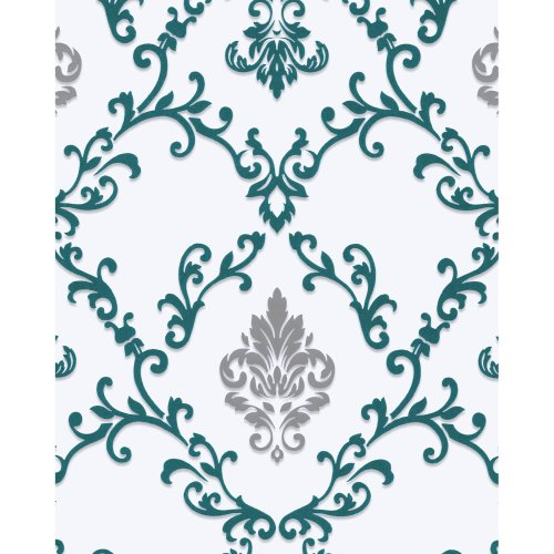 EDEM 85026BR25 Baroque wallcovering metallic highlights white turquoise 5.33 m2