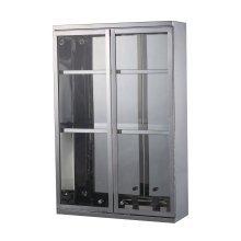 Homcom Stainless Steel Cupboard Bathroom Glass Cabinet 2 Shelves W/ Double Door 60lx40hx13d(cm)
