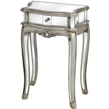Argente Mirrored Single Drawer Lamp Table -  silver mirrored bedside table cabinet french ornate bedroom furniture chic