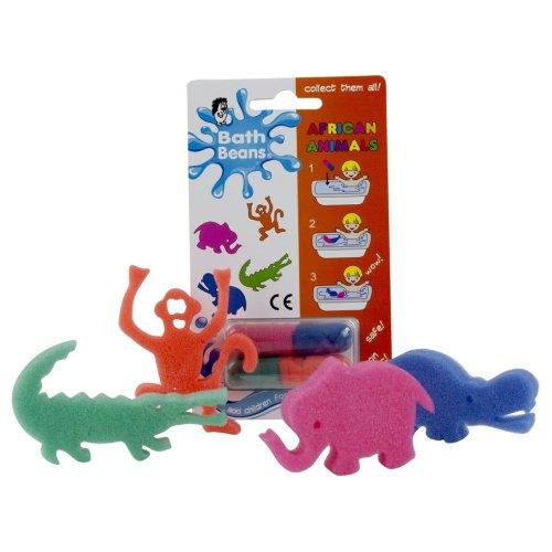 AFRICAN ANIMALS - Bath Beans Sponge Toy Capsules - Bath Time Fun for Children