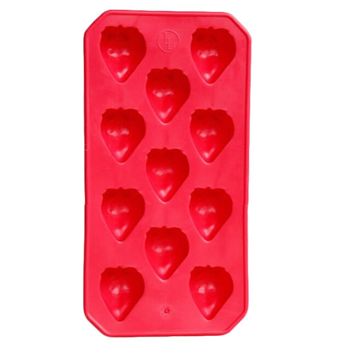 2Pcs Safe And Soft Silicon Ice Cube Tray Strawberry Shape, Red