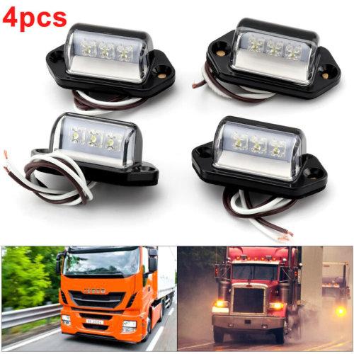 4 x 3LED License Licence Number Plate Light Lamp Lorry Truck Van Trailer 12V/24V