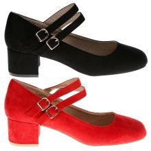 Penelope Womens Dual Strap Low Block Heel Mary Jane Court Shoes