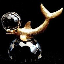 Crystal and Metal Dolphin with a Ball Wildlife Ornament