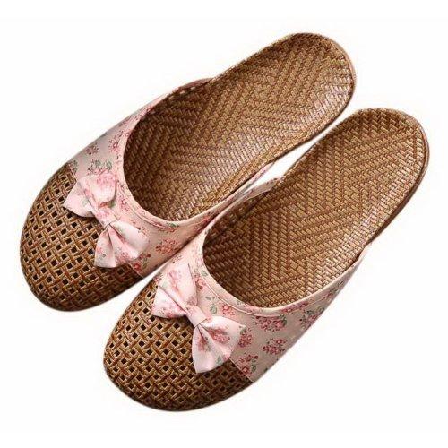 Flipped Linen Slippers Indoor/Outdoor Non-slip Grass Weavon Slippers, Light Pink