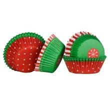 Christmas Cupcake Cases, Medium - Set of 60, Red/Green