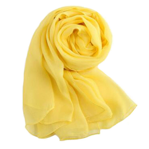 Comfortable Silk Scarf Shawl Wrap Scarves Neckerchief Solid Color, Yellow