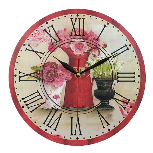 Obique Home Decoration Red Flowers Scene Vintage 28cm MDF Wall Clock