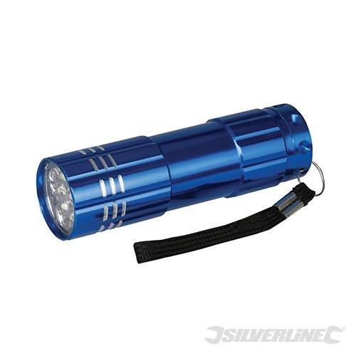 Silverline LED Aluminium Torch 9 LED -  led aluminium silverline torch 9 226491