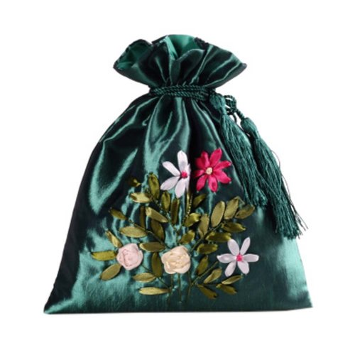 Gorgeous Wedding Gift Bag Ribbon Embroidery Jewelry Organizer Pouch Bags, Pattern Random(C)