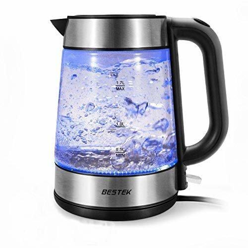 BESTEK Electric Glass Kettles, 3000W Fast Boil Kettle, Blue LED Illumination, 1.7 L Electric Cordless Kettle