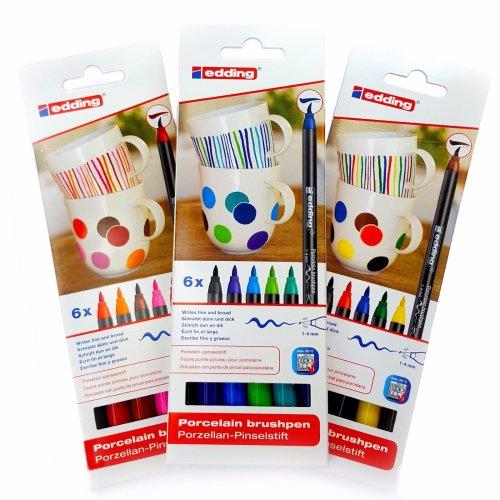 Edding 4200 Porcelain Brush Pen Oven Bake Marker Pen Set - Three Colour Sets