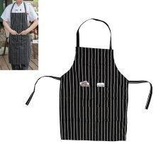TRIXES Kitchen Chef Cooking Apron Black & White Stripe