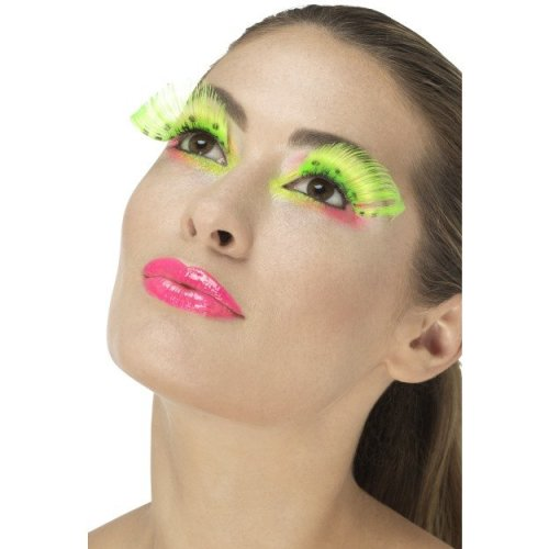 Smiffy's 48092 Neon Green 80s Polka Dot Eyelashes -  ladies 80s eyelashes adults disco party fancy dress accessory 70s fake