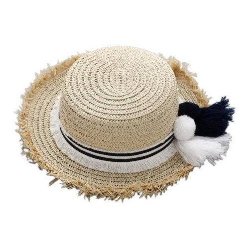 Tassels Straw Broadbrim Toddler Summer Sun Hats Kids Travel Beach Hat Beige  on OnBuy 1b917232eb5