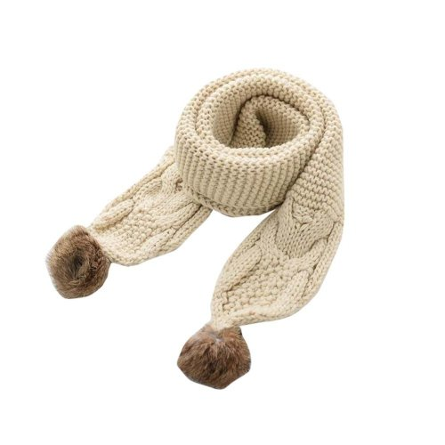 Soft Comfortable Winter Scarf Knitted Kids Neck Warmer-Beige