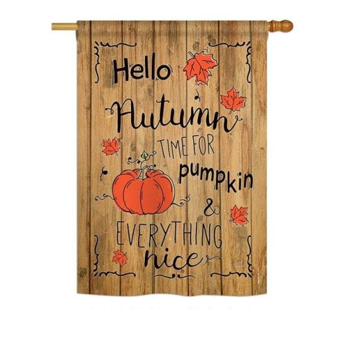 Breeze Decor BD-HA-H-113064-IP-BO-DS02-US Hello Autumn Time for Pumpkin Fall - Seasonal Impressions Decorative Vertical House Flag - 28 x 40 in.