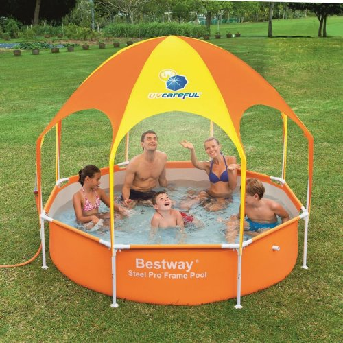 "Bestway Splash-in-Shade Play Pool Swimming Kid Family Outdoor Garden - Orange 8ft x 20"" - UPF 40+ Rated"