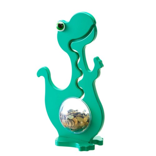 BigBellyBank Dino Money Box in Green Monochrome 50 cm Large WITH BALL TIP Effect