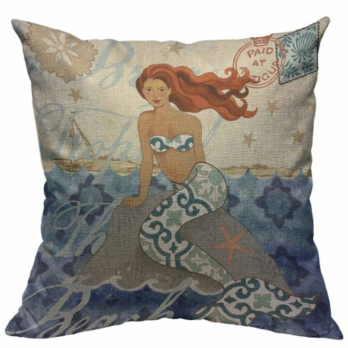 """Melyaxu Mermaid Throw Pillow Case Sea Theme Pillow Cover Square Cotton Linen Cushion Cover for Home Sofa Bedroom Decorative 18""""X18"""" Blue Yellow Brown"""
