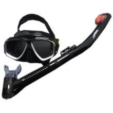 Black Scuba Diving Mask & Dry Snorkel Set Snorkeling Equipment for Adult