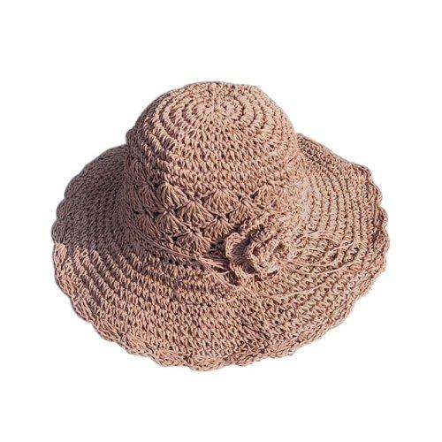 Womens Summer Straw Hat With Flower Packable Sun Visors Girls Hats, Pink
