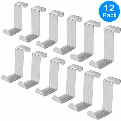AUSTOR Pack of 12 Stainless Steel Over Door Hooks Hanger Over Cupboard Hooks Drawer Hook for Office and Kitchen (2cm to 4.5cm Door or Drawer)