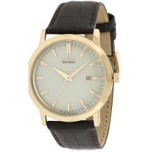 Citizen Eco-Drive Rose Gold-Tone Leather Mens Watch BM7193-07B