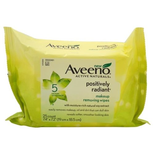 Aveeno W-BB-2930 Positively Radiant Makeup Removing Wipes for Women - 25 Count
