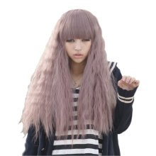 Purple Fashion Long Wild-Curl Hair Wigs Bohemian Cosplay Hair Wigs Blunt Fringe