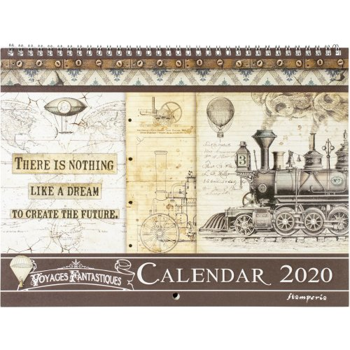 """Stamperia 2020 Wirebound Calendar 11.75""""X8.75""""-Voyages Fantastiques"""