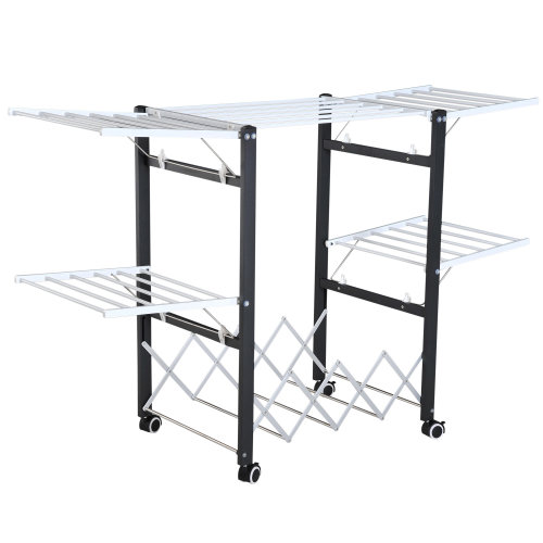 HOMCOM Foldable Clothes Drying Rack Expandable Wings Easy Storage Towel Hanger Laundry Room w/ Casters Black & White