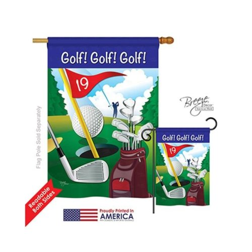 Breeze Decor 09043 Sports Golf , Golf , Golf 2-Sided Vertical Impression House Flag - 28 x 40 in.