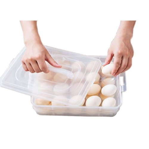 Plastic Egg Tray Double Layer Total 40 Grids With Handle Transparent Egg Holder