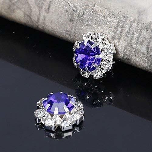 10 x Blue Round Rhinestone Diamante Crystal Embellishment 9 Diamantes With Large Center Diamante 12mm