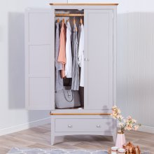 Malvern Shaker Grey Painted Oak Gents Wardrobe